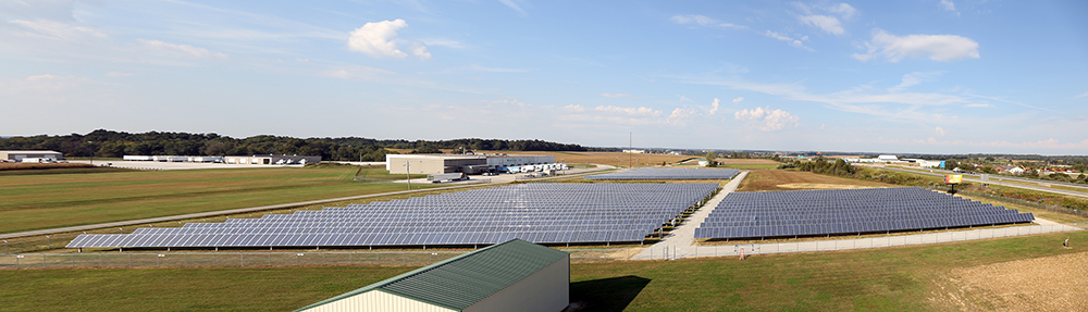 Solar panels in a large field